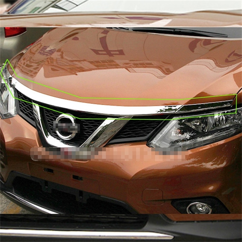 For Nissan X-Trail Xtrail T32 Rogue 2014 2015 2016 ABS Chrome Front Hood Grill Cover Bonnet Trim Cover Car Styling Accessories abs chrome side door body protection molding trim cover for nissan x trail x trial rogue t32 2014 2015 car styling accessories