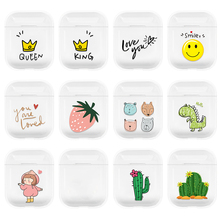 Cartoon Earphone Case For Airpods 2 PC Cute Cover For Apple Airpods 2 AirPods 1 Transparent Pouch Bluetooth Earphone Accessories