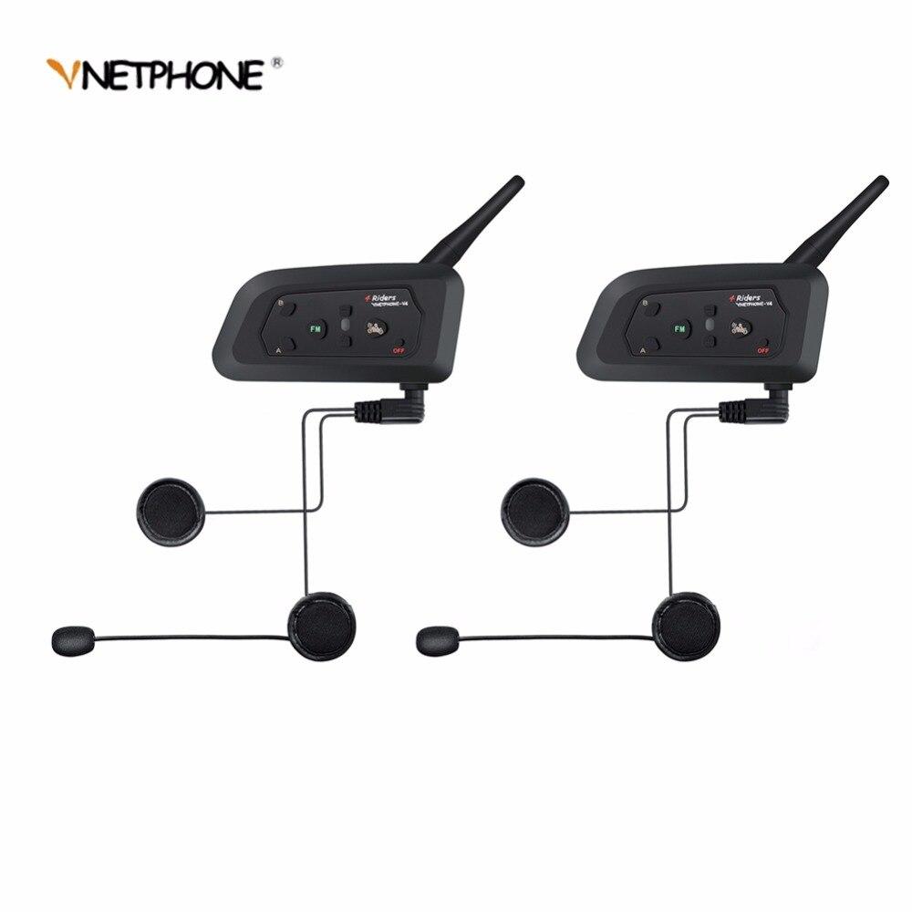 2 pcs VNETPHONE V4 Moto Accessoires Bluetooth Casque Interphone Casque pour 4 Coureurs Étanche Soutien Smartphone FM Radio