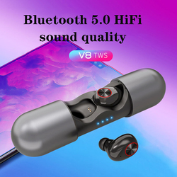 Hot v9TWS automatic connection headset Bluetooth 5.0 wireless earphone stereo ergonomic design headset with charging compartment