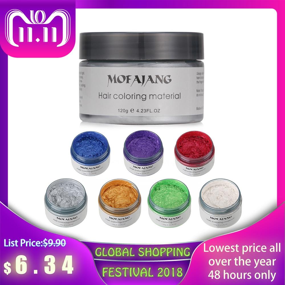 Mofajang Farbe Haar Wachs Styling Pomade Silber Oma Grau Einweg Natürliche Haar Starken Gel Creme Haar Farbstoff für Frauen Männer 120g