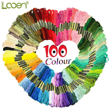 Random Colors 100% Cotton Cross Stitch Floss 100pcs Skeins Premium Rainbow Color Embroidery Sewing Threads DIY Tool