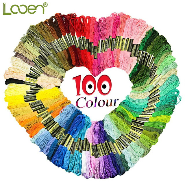 Looen Random Colors 100pcs Cross Stitch Floss Rainbow Color Embroidery Threads Floss Sewing Threads For Women DIY Sewing Tool