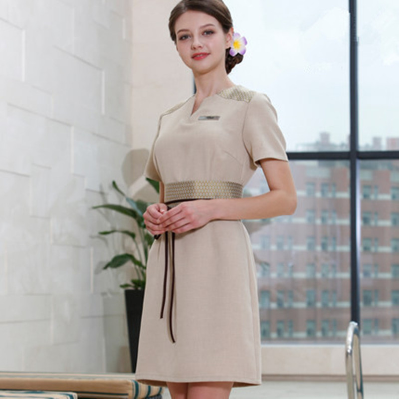 New design spa uniform 2017 beauty salon short sleeve work for Uniform design for spa