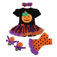Halloween Newborn Girl Clothing 4pcs Sets Pumpkin Ruffles Romper Tutu Dress Shoes Leg Warmers Headband Kids