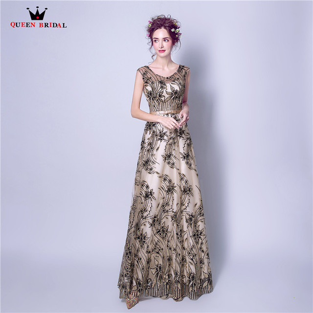 Sequin Fabric Beads Evening Dresses Black Color 2018 New Long Formal ...