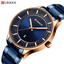 CURREN Blue Quartz Men's Watch Rose Gold Case Watches Date Display Water Resistance Stainless Steel Band Army Clock 2019 Relogio