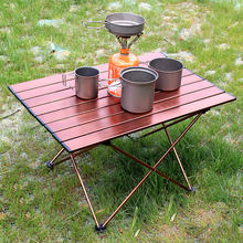 Portable Table Foldable Folding Camping Hiking Desk Traveling Aluminium Alloy New Sliver Coffee