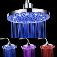 New Round RGB 8 Inch 3 Colors Changing LED Shower Head Top Spray Showerhead Rain Shower