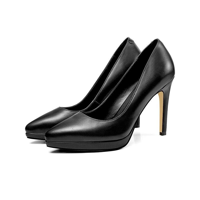 Cuir Couleurs Talons Véritable Solide Chaussures Profonde En Femmes Bout Haute blanc 2018 Robe Memunia Top Noir Qualité Peu Pompes Femme Pointu wv6vqg