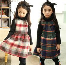 New Fall Winter Girl Dresses baby Girls Scottish kilt dresses sleeveless Children kids Grid party dress