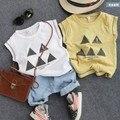 Новые 2016 летние мальчики геометрическая фигура треугольник с коротким рукавом майка дети летняя мода майка мальчиков повседневная одежда