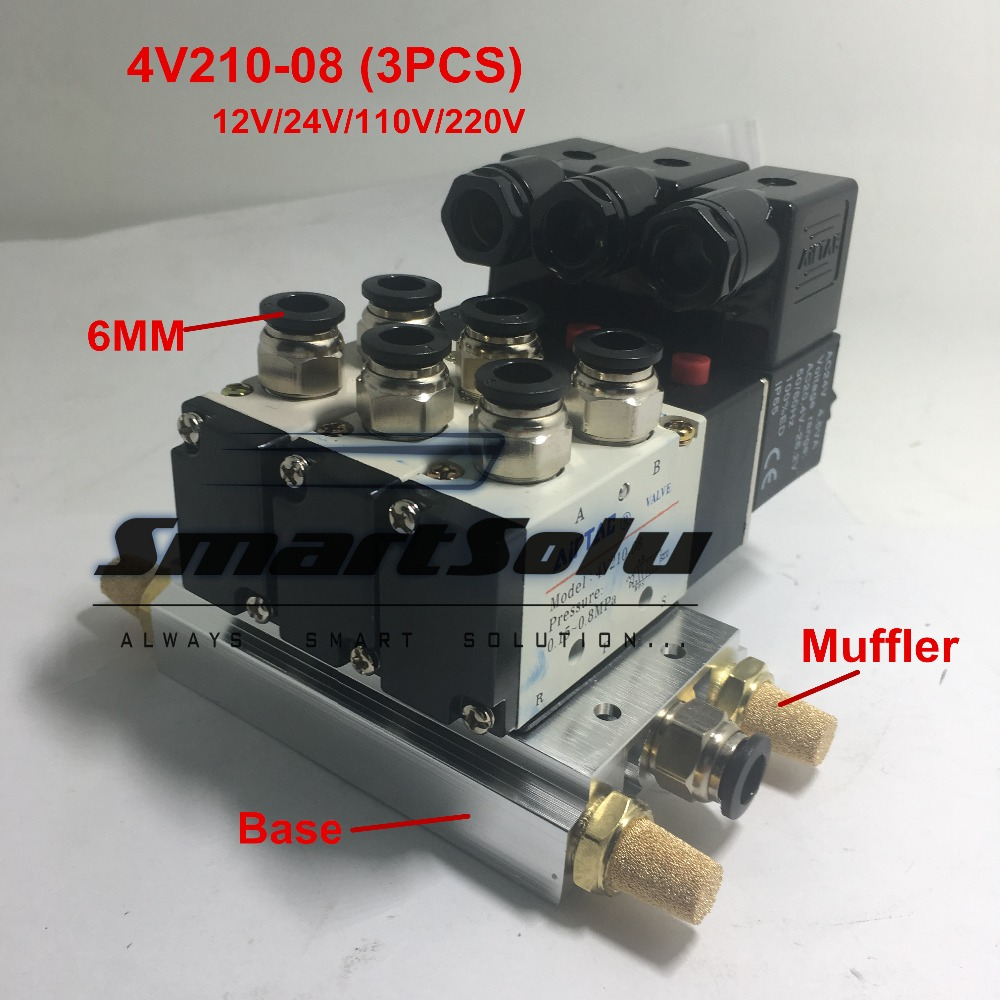 все цены на Free shipping Triple Solenoid Valve 4V210-08 2 Position Base Muffler Connect 6mm 8mm Quick Fitting Valves Set 1/4