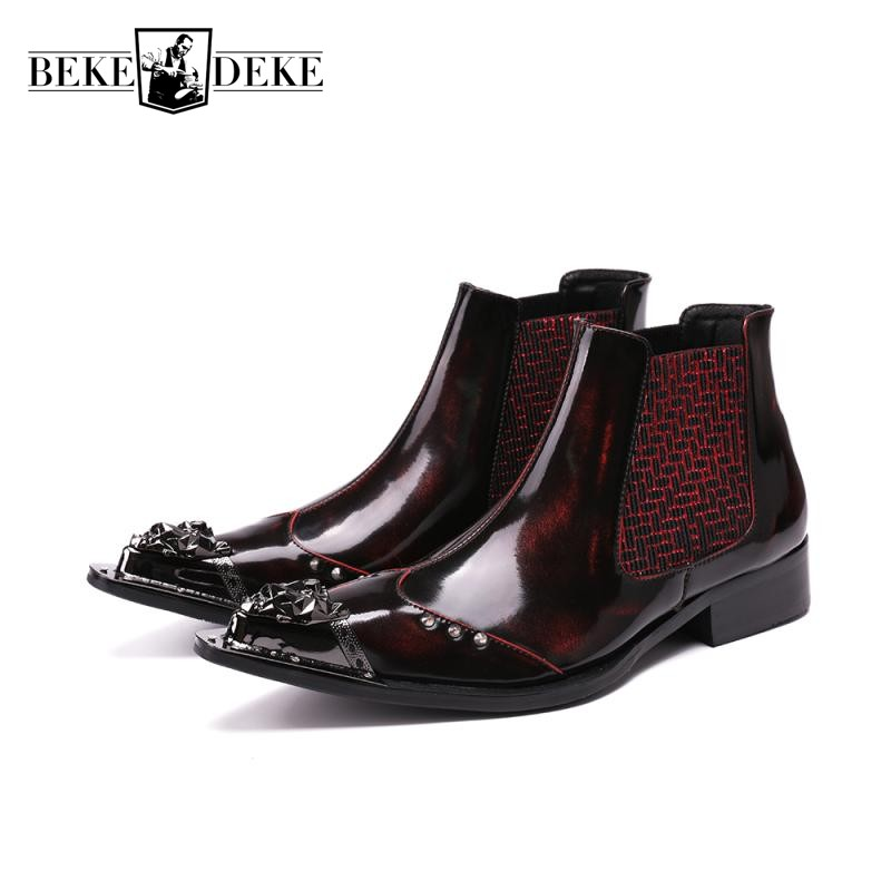 Italian 2018 New Design Slip On Chelsea Boots For Men Genuine Leather Office Work Formal Metal Pointed Toe Red Dress Shoes Male italian visual phrase book