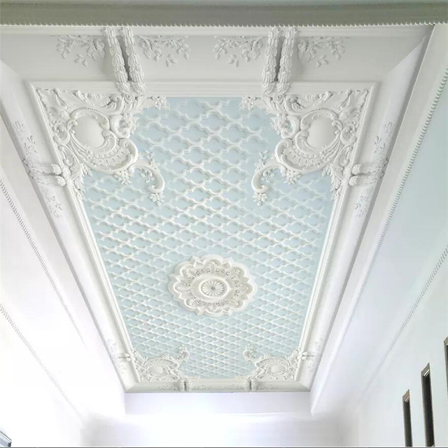 Beibehang Papel De Parede White European Pattern Plaster Relief