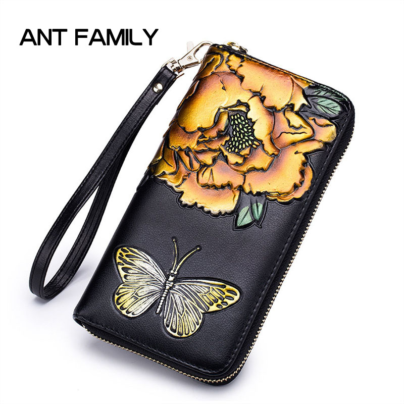 Luxury Genuine Leather Women Wallet Fashion Butterfly Flower Wallets Portemonnee Ladies Purse Long Zipper Wallet Carteras Mujer