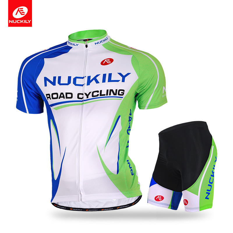 NUCKILY Couple Design Cycling Jersey Suit Nature Green Bicycle Apparel And Foam Pad Shorts For Men MA003MB003