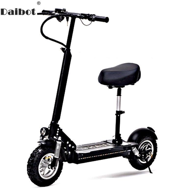 Daibot Adulte Vélo Électrique trottinette électrique s 11 Pouces Unique Moteur 1000 W 48 V Puissant trottinette électrique Avec Siège Pour Adultes