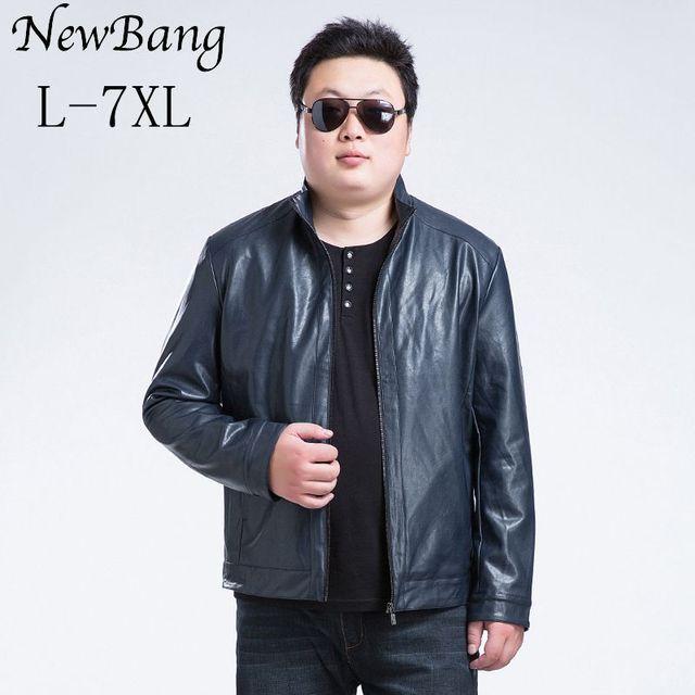 Plus 6XL 7XL Leather Jacket Men Mandarin Collar PU Regular Length Black Coat Large Size Jackets