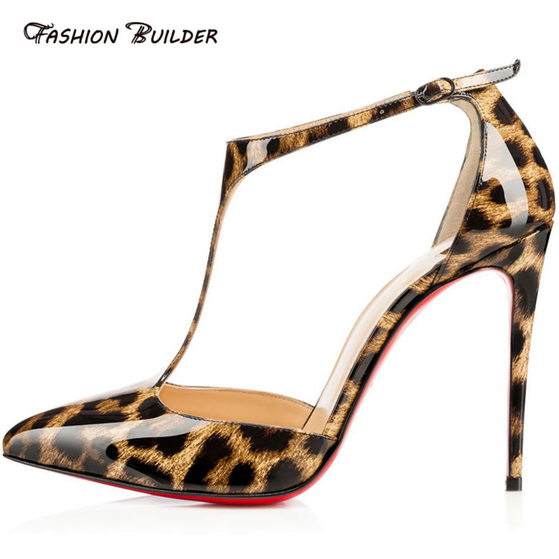 2016 Women Fashion Patent Leather Pointed Toe Buckle Strap Stiletto font b Shoes b font Sexy