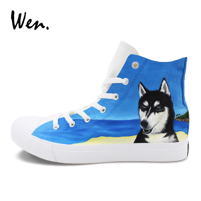 Wen Sea Beach Pet Dog Husky Shoes Custom Design Hand Painted Canvas Sneakers Women Men Graffiti Shoes High Top Athletic Flat e lov women casual walking shoes graffiti aries horoscope canvas shoe low top flat oxford shoes for couples lovers