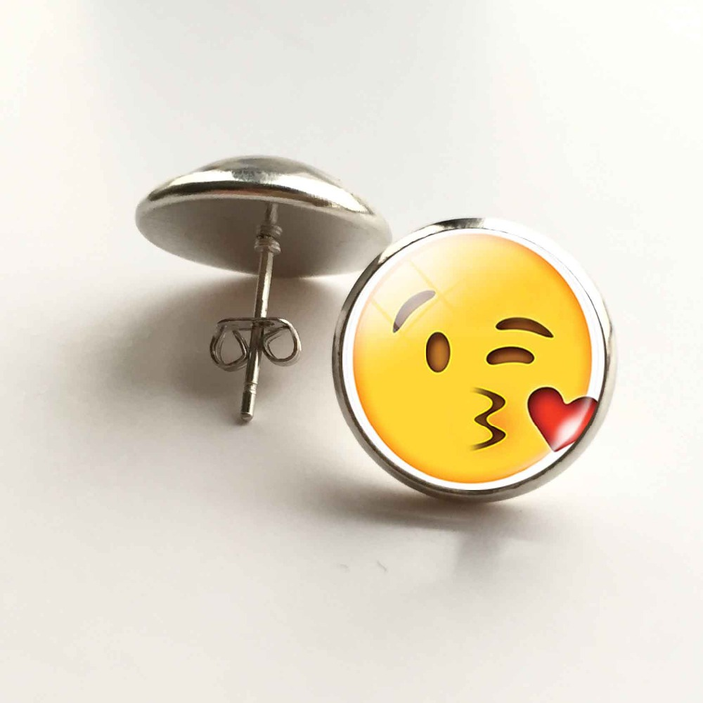 Funny Glass emoji Cabochon Stud Earrings for Womens Jewelry