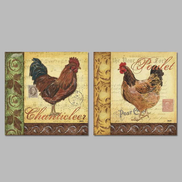 2 Pieces/set Postcards Stamp Animals Hen Cock Decoration Wall Art ...