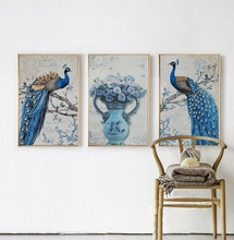Nordic Modern Simple style Flowers Peacock Animal Poster Canvas Wall Home Decoration Combined