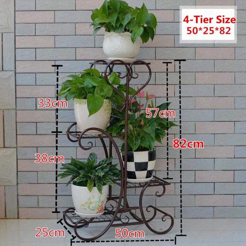 4-Tier Versatile Indoor Plant Shelf, Decorative Metal Plant Stand Plant Holder flourishing round plant stand