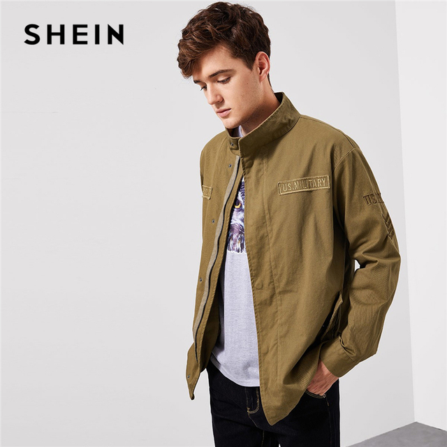 29ad276d0c SHEIN Men Khaki Letter Patched Flap Pocket Coat Casual Cotton Zipper Single  Breasted Outerwear Mens Autumn