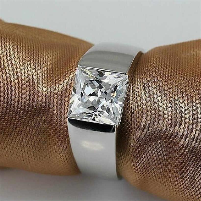 Мужская вечность 925 пробы Серебряная квадратная Алмазная Имитация CZ камень пасьянс кольцо размер 8-12