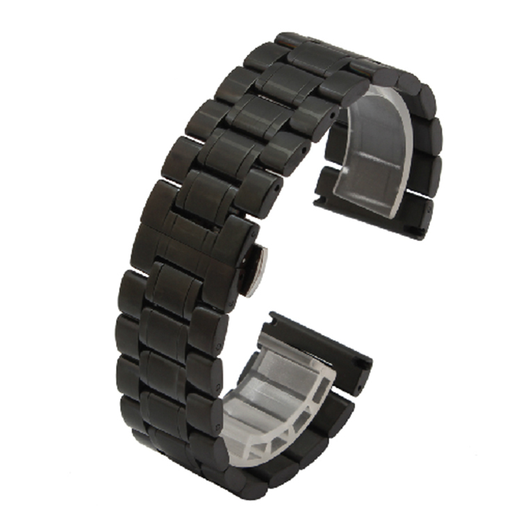 Black Watchband Polished Straps Bracelets for luxury Watches 22mm 24mmm 26mm 28mm 30mm High quality Watchbands