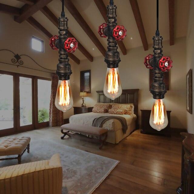 Retro Loft Wasserleitung Form Pendelleuchte Industrie E27 Braun Eisen  Indoor Kabel Pendelleuchte Dekoration Für Wohnzimmer