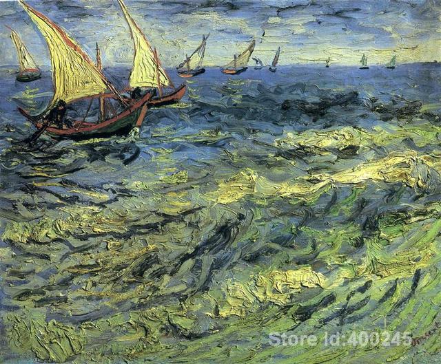 034a65b7835 Barcos de pesca no mar by vincent van gogh reprodução da pintura a óleo  decoração da