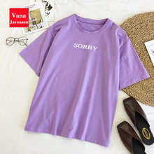 Vana Javeasen Casual Loose purple Tshirt Women Tops Letter T-shirts Printing Fun