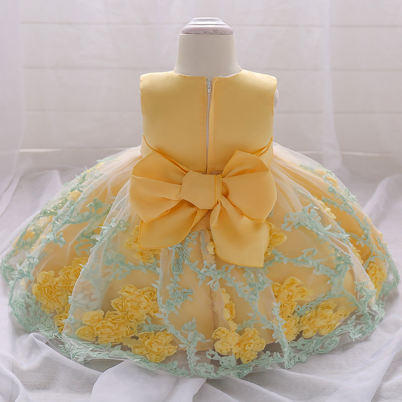 Yeedison Baby Girl Dress Flower Infant Wedding Dress Princess 1 Year First Birthday Newborn Party Dresses Baby Christening Gowns (10)