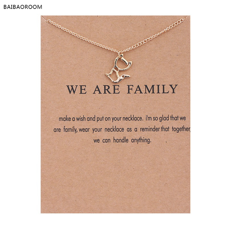 Fashion Jewelry New Gold-color We Are Family Kitten Cat Alloy Chocker Pendant Short Necklace
