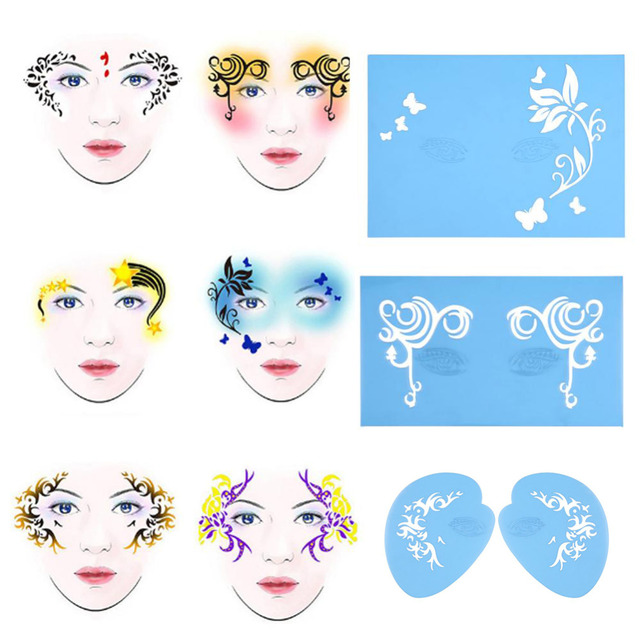 reusable face painting set stencil 7pcs set body paint template