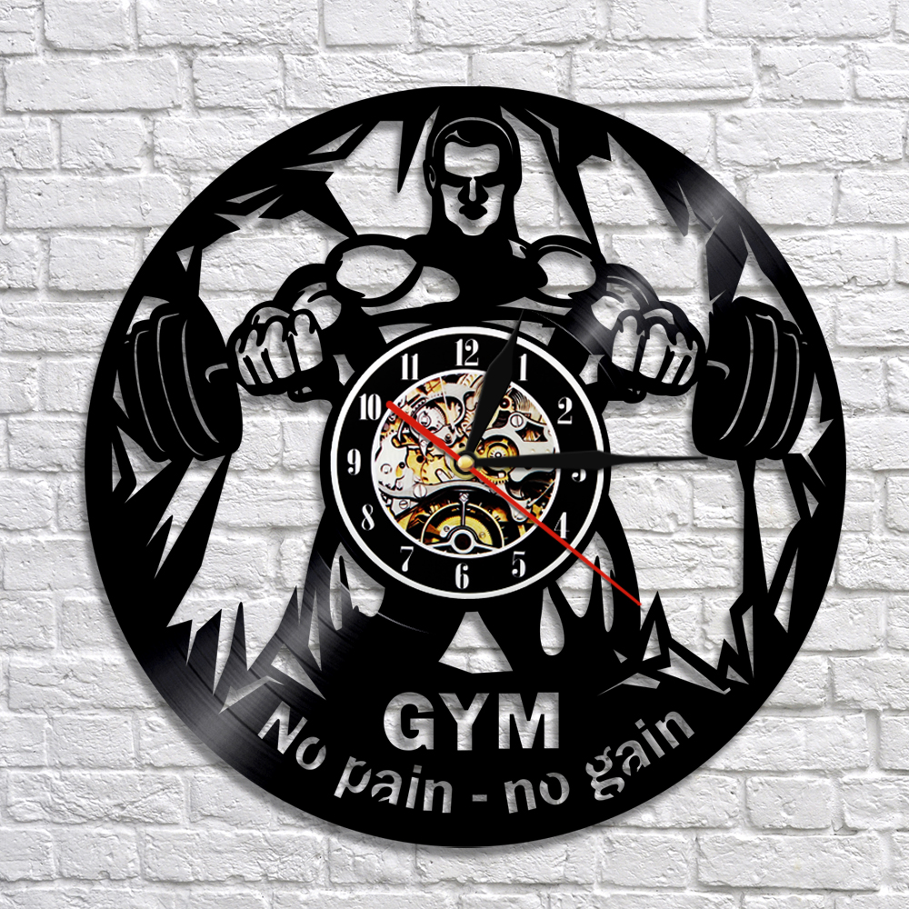 GYM No Pain No Gain Vinyl Record Clock Wall Decor Bodybuilder Crossfit Clocks GYM Wall Art Decor Unqiue Gift For Her Him