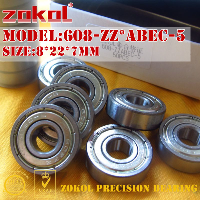 ZOKOL 608ZZ ABEC-5 bearing 608 ZZ ABEC-5 Miniature 608-ZZ Deep Groove ball bearing 8*22*7mm non standard special ball bearing 608 630 8 2rs1 630 8 bearing thick b8 74d 8x22x11mm bearing