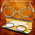 CLASSIC RETRO STYLE READING GLASSES WITH CASE ROUND BLACK FRAME GOLD LEG HIGH-GRADE MULTILAYER COATED LENS+1+1.5+2+2.5+3+3.5+4