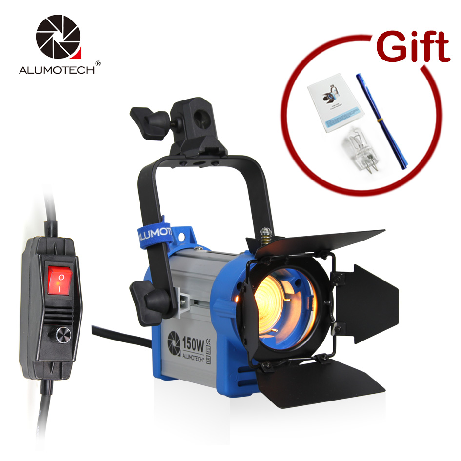 ALUMOTECH Dimmable 150W Fresnel Tungsten Spotlight Lighting for Photographic equipment+Bulb+Barndor camera Free Shipping