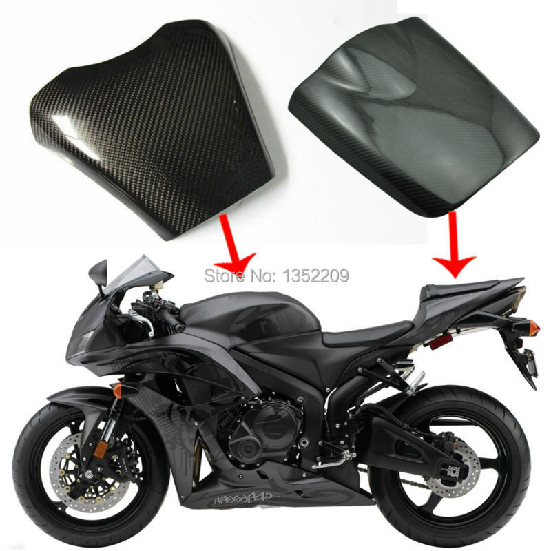 Real Carbon Fiber Rear Seat Cover Cowl Fuel Gas Tank Protector Pad