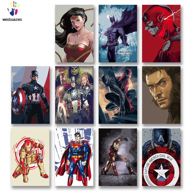 DIY colorings pictures painting by numbers with colors Spiderman flash picture Batman drawing paint by numbers framed Super hero