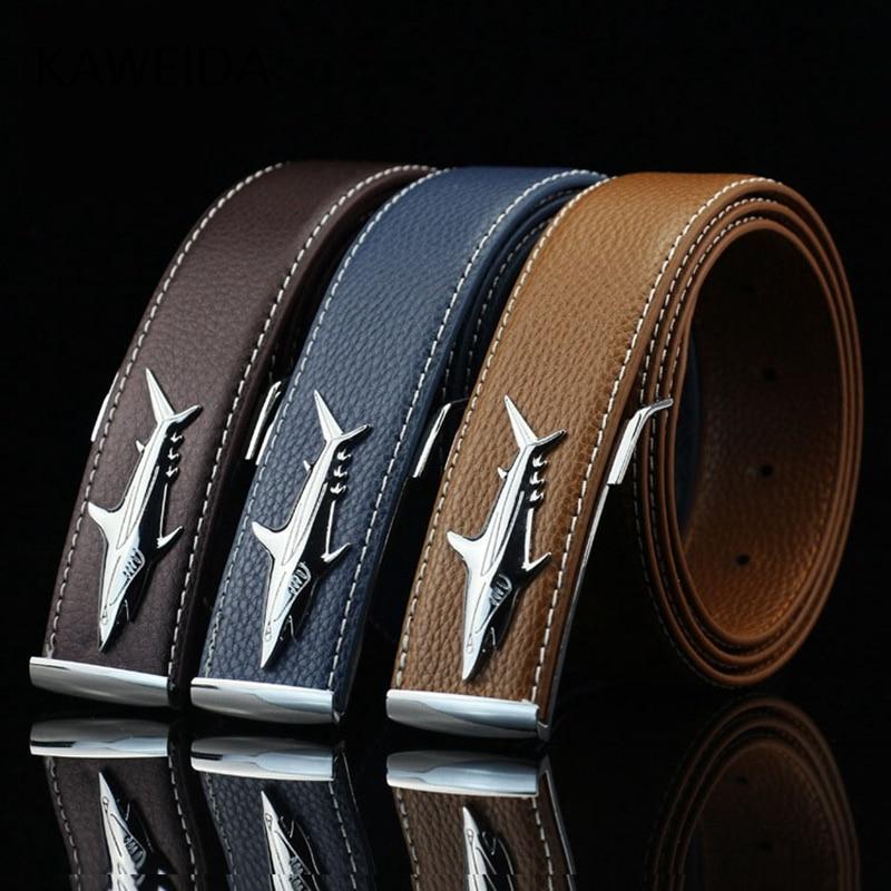 KAWEIDA Fashion 2018 Luxury Brand Men's Genuine Leather Belt Casual Shark Smooth Buckle Street Style Ceinture Homme Kemer Riem