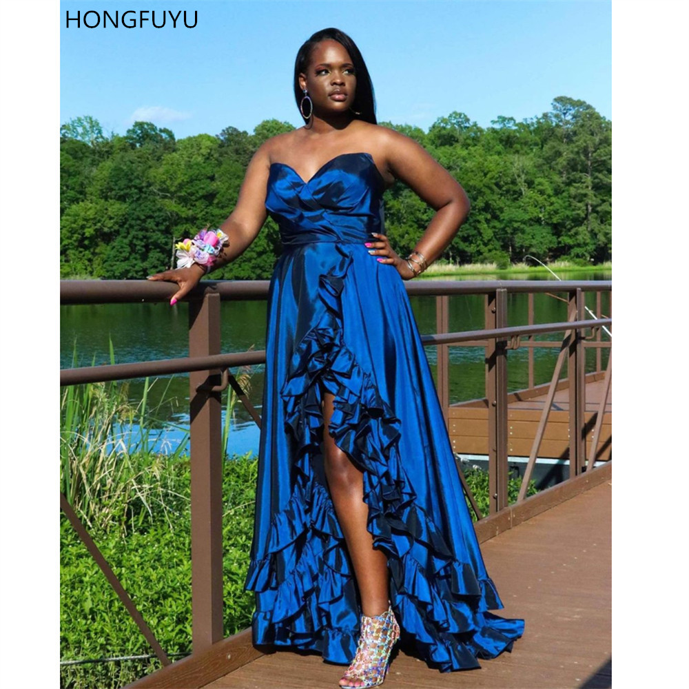 HONGFUYU   Prom     Dresses   2019 A-line Sweetheart Taffeta Party Formal Gowns Layered Ruffles Evening   Dress   Zipper Backless Front Slit