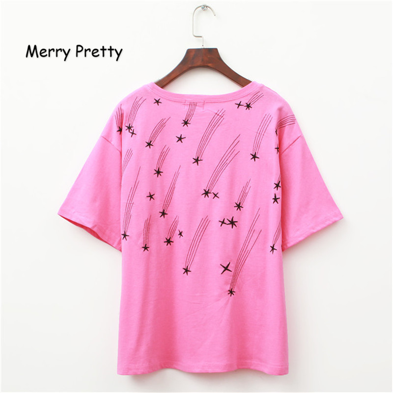 Merry Pretty Harajuku Meteor Shower Print T Shirt Women Summer New Korean Sweet Round Neck Pink Tshirt Cotton Camisas Mujer MK79