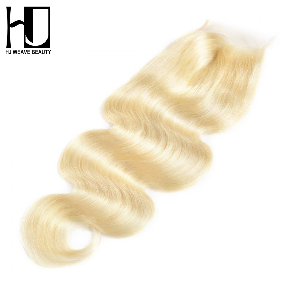 HJ Weave Beauty Hair 7A Brazilian Closure Body Wave #613 Blonde Brazilian Lace Closure Middle Part Free Shipping image