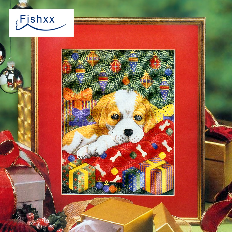 2018 Fishxx new cross stitch suite European magazine Crazy28-1 Christmas and dog white cloth accurate printing