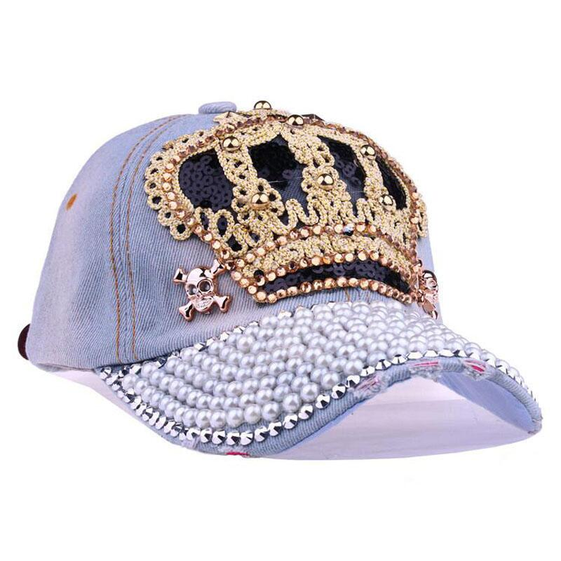 Crown Crystal Hat Women Denim Baseball Cap Vintage Female Sexy lips jean Hats Point Drill Pearl Cowboy Snapback Caps in Women 39 s Baseball Caps from Apparel Accessories